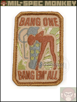 Oryginal Mil-Spec Monkey Morale Patch - Bang One, Bang Em' All Desert