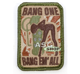 Oryginalna naszywka Mil-Spec Monkey Morale Patch - Bang One, Bang Em' All Multicam